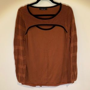 August Silk Brown Keyhole Top